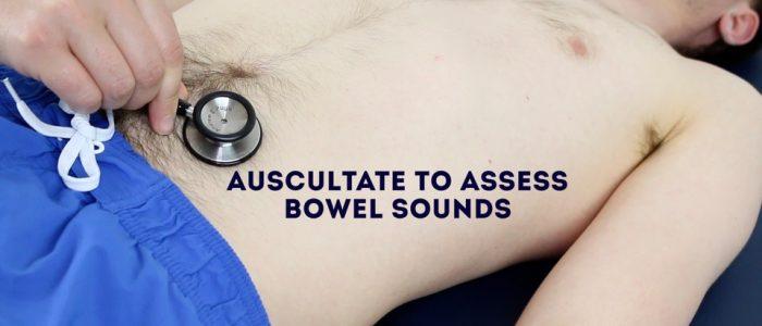 Auscultate bowel sounds