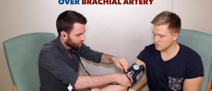Place stethoscope over brachial artery