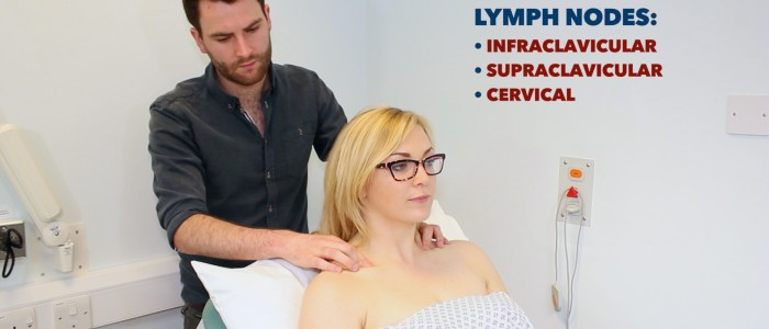 Palpate supraclavicular lymph nodes