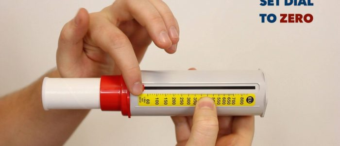 Set dial to zero (peak flow meter)
