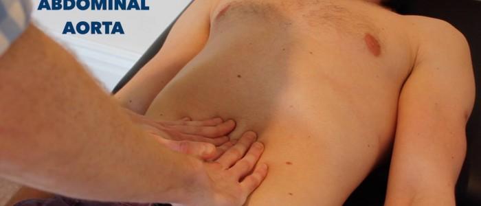 Palpate abdominal aorta