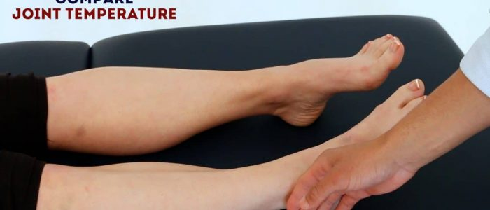 Assess ankle and foot joint temperature