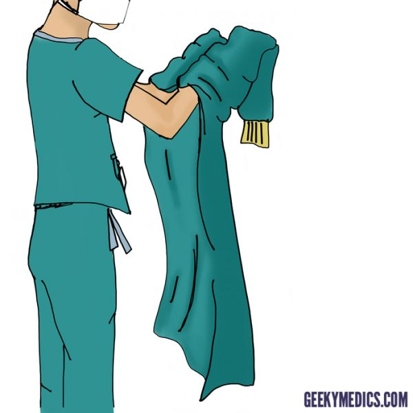 Put hands in gown sleeve