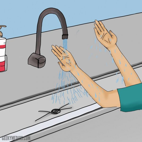 Surgical scrub - rinse hands and forearms