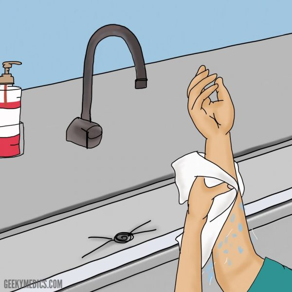 Surgical hand scrub - drying hands