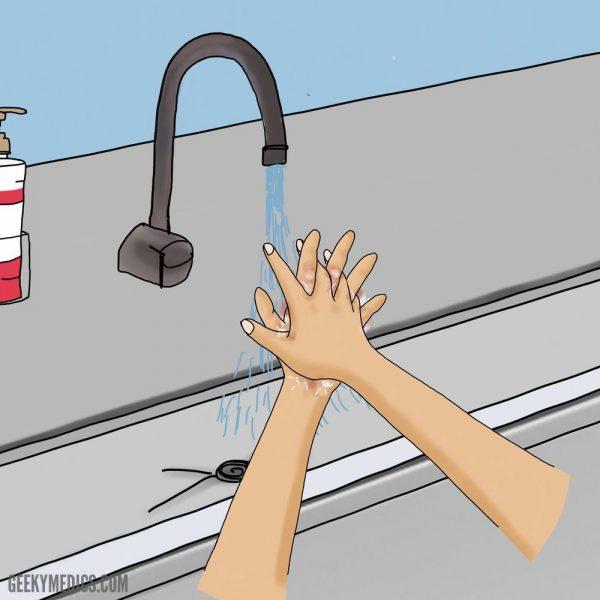 Surgical hand scrub - palm to palm