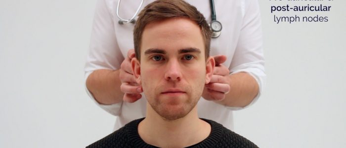 Palpate the post-auricular lymph nodes