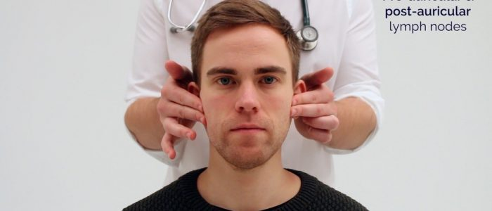 Palpate the pre-auricular lymph nodes