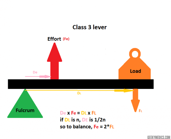 Figure 4: How forces across distances on lever are balanced.