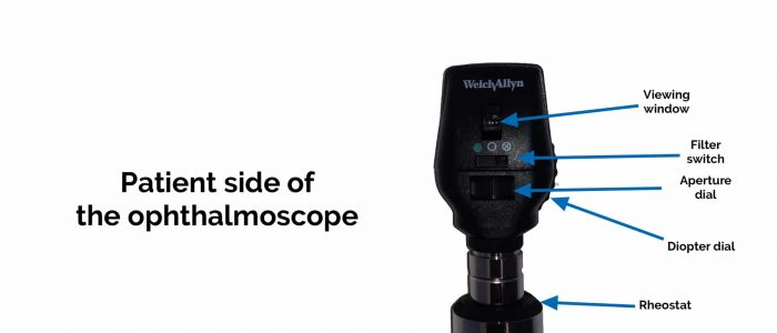 Patient side of the ophthalmoscope